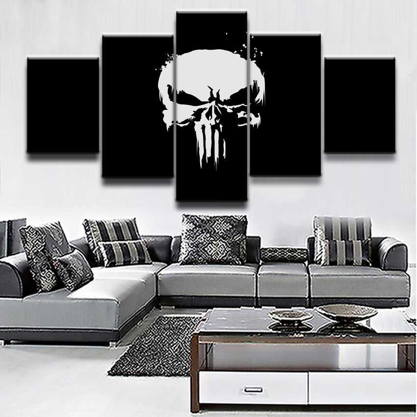 Painting Home Decor Framework Wall Art Modular Pictures 5 Pieces Comics Marvel The Punisher Poster Top Rated Canvas Print in Painting Calligraphy from Home Garden