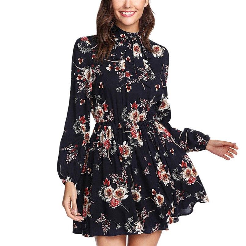 d9e9fc9c1 Floral Print Dress Women With Zippers Plus Size Dress Loose Long Sleeve  Mini Dress Vestido De Festa Dropshipping  F 40AT30
