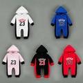 5 colores bebé recién nacido con capucha ropa de algodón impreso jordan overoles de manga larga de bebé de los mamelucos recién nacidos bebes para los recién nacidos