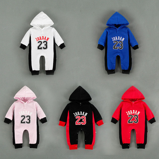 5 cores bebê recém-nascido com capuz roupas de algodão impresso jordan bebes menino macacão crianças macacão de manga longa do bebê para recém-nascidos