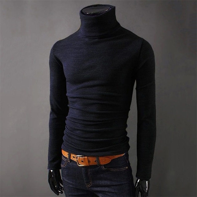 2017 Brand autumn knitted Sweater Men christmas Black knitwear Casual winter male high collar polo sweter Pull pullover sweaters 1