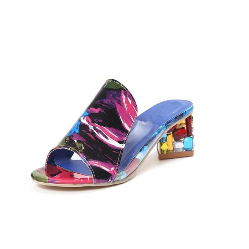 Rhinestone Heel Shoes Peep Toe Women's slippers Sexy Open Toe Shoes Wedge Non-slip Women's  High Heel slippers Flip Flop Plus 41 4