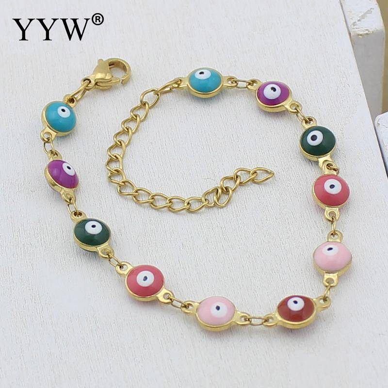 Lucky Girls Women Stainless Steel Bracelets Multicolor Evil Eye Charms bangles Pulseras for Women armbanden voor vrouwen in Chain Link Bracelets from Jewelry Accessories