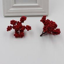 2 mini plastic tree fruit simulation small berry flower red artificial cherry pearl fake Christmas tree decoration wedding