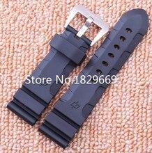 Nuevos Mens 24mm 26mm Negro Caucho de Silicona Impermeable Reloj Correa de La Venda Pulseras