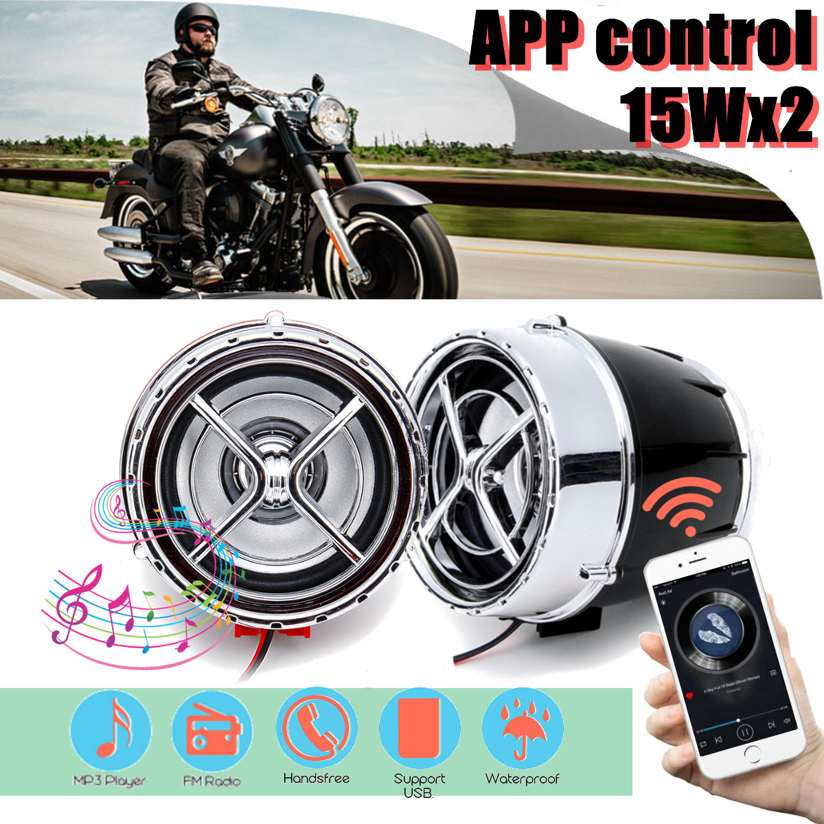 12V Pair Bluetooth Motorcycle Bike Mutilmedia MP3 Player Speakers Audio FM Radio Security Alarm Wireless APP Remote Control