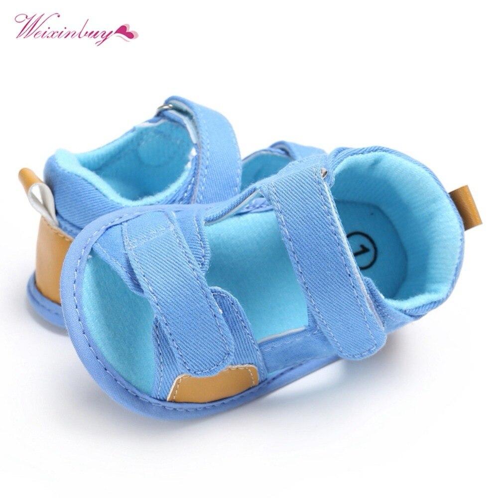 Sandales pour bébés garçons | Jolies chaussures d'été en toile, pour nouveau-né 0-2 ans, sandales souples, à la mode 2018