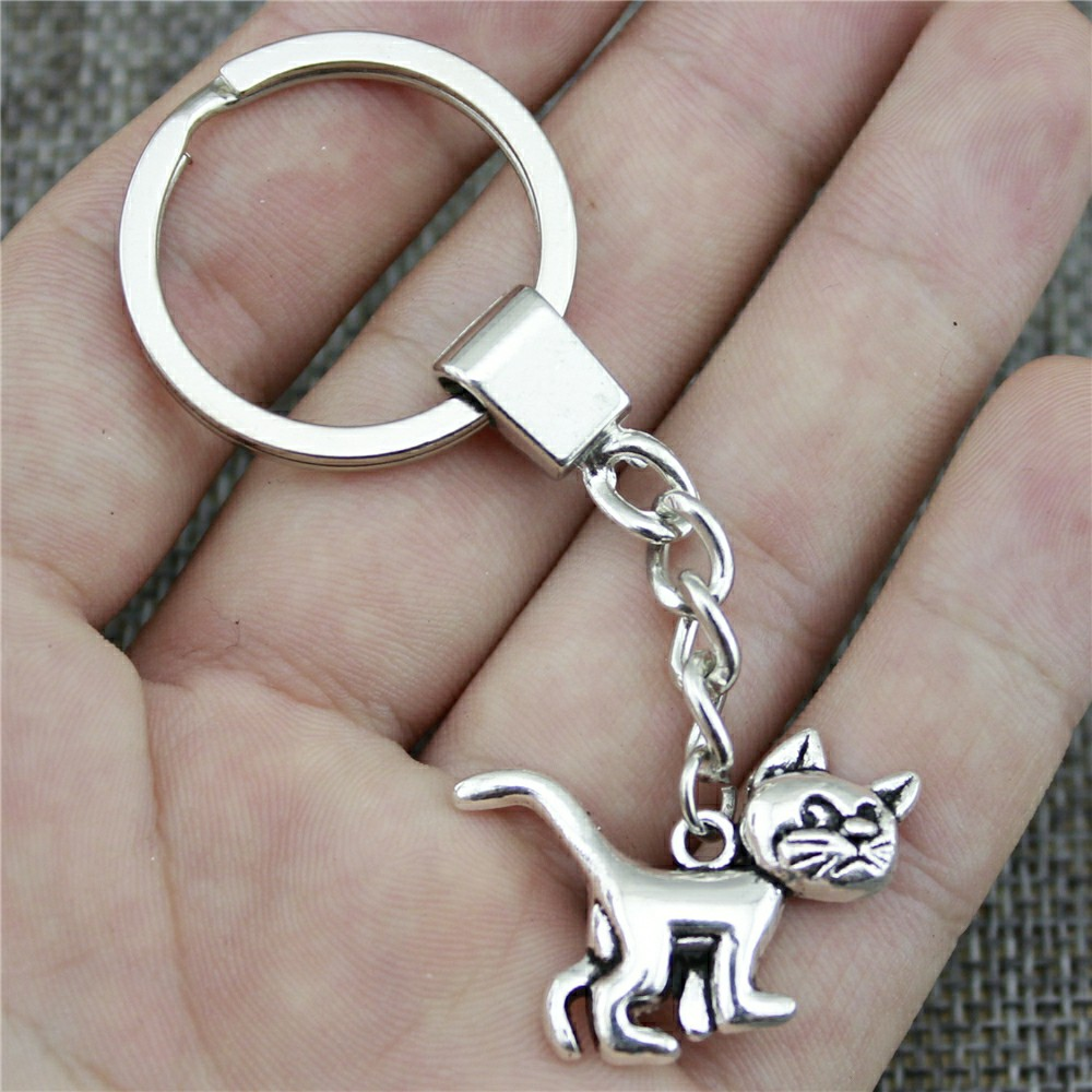 New Fashion Men Jewelry Keychain Diy Metal Holder Chain Cat 30x22mm 2 Colors Antique Bronze Antique Silver Pendant Gift