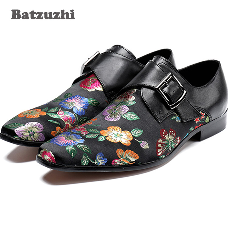 2018 New Style Men Shoes Fashion Flower Printing Black Men Loafers Hasp Men Dress Shoes for Wedding and Party Men's Flats! 2016 new style handmade white color print gold flower china style men loafers wedding and party men shoes fashion men s flats