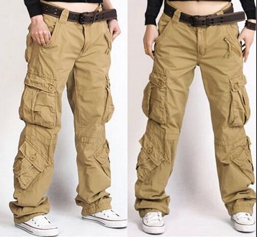 Pantalones color caqui mujeres más tamaño suelta