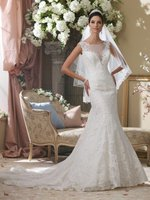 Free Shipping 2014 Wide Shoulder Strap Sexy Mermaid V Neck Lace Wedding Dress Bridal Gown With