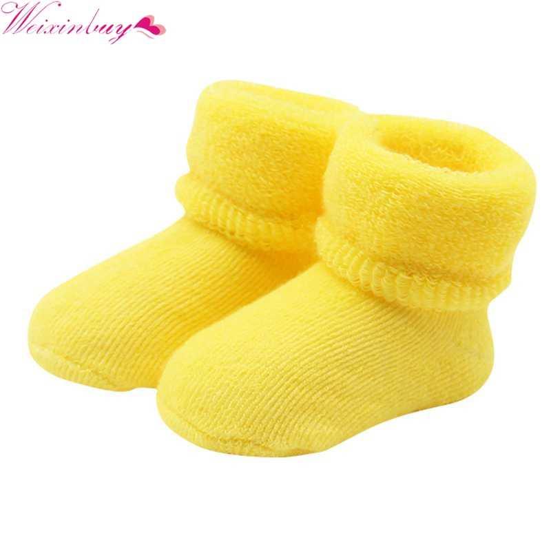 Nuevo 0-2 Y bebé niñas niños nacidos bebé invierno botas calientes niño NIÑOS Calcetines de algodón suave botines cuna zapatos 6 colores H1