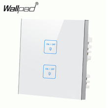 Hot Sales 2 gangs 1 way Glass White DIY touch light switch,Waterproof LED Smart touch wall switch,Free Customize Free Shipping new arrival 2 gangs 1 way crystal glass led black diy touch light wall switch touch switch free customize words free shipping