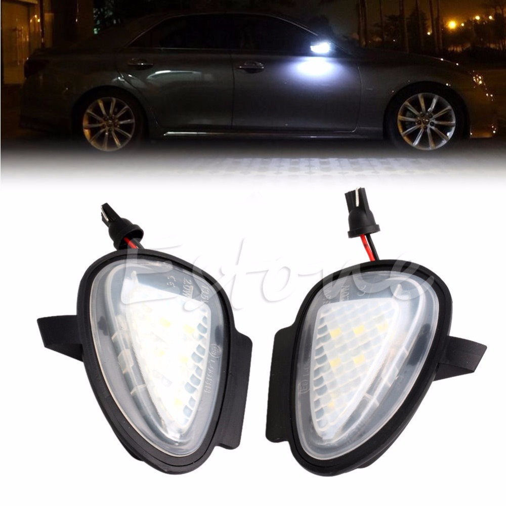 1pair Direct Fit White Led Under Side Mirror Puddle Lights
