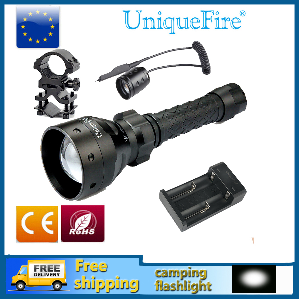Uniquefire UF 1406 XML Adjustable LED Flashlight Zoomable 5-Modes Waterproof Lampe Torch+Rat Tail+Charger+Gun Mount uniquefire uf 1508 75 ir 850nm zoomable 3 modes led flashlight rat tail gun mount charger infrared light night vision torch