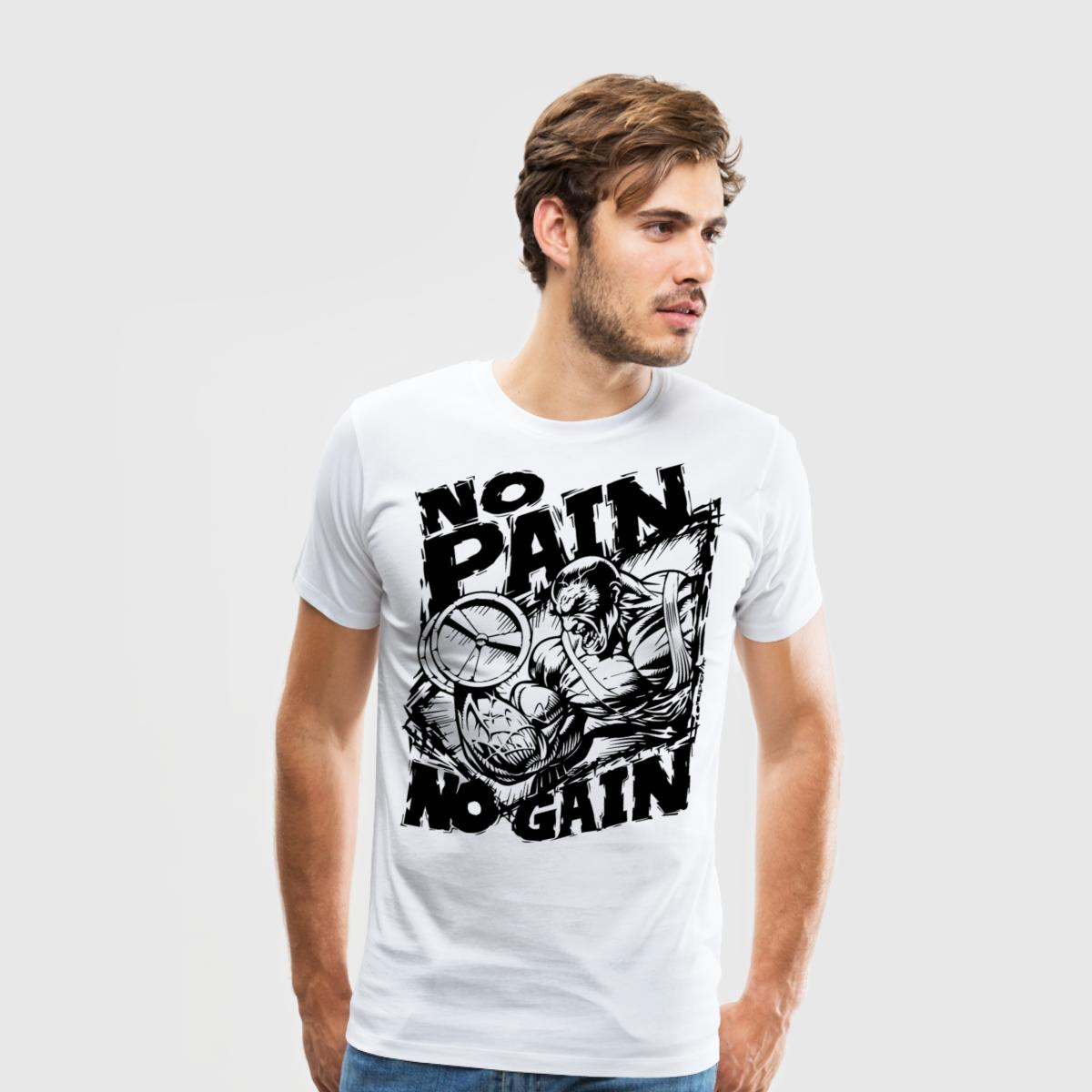 New Men's t shirts No Pain No Gain Funny O Neck Tees  T-shirts Mens fashion inspirational men t shirt