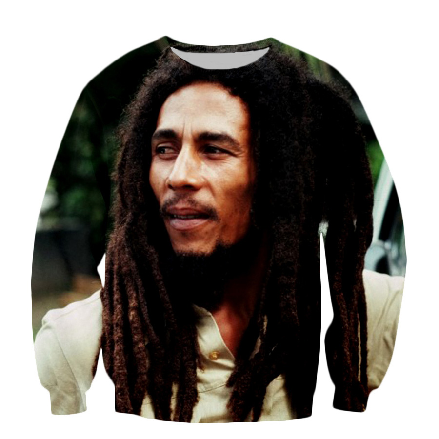 2018 Autumn Fashion Men Women Long Sleeve Sweatshirt Star Bob Marley 3D Print Casual Hipster Pullovers Tops
