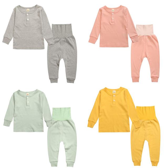Boy Niños de los niños Pjs de Cintura Alta Chica Pijama Pijama de algodón para Niños 2 T a 5 T