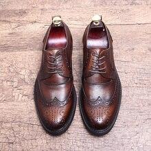 Фирменная Новинка женские ботильоны со шнуровкой из натуральной кожи; Для мужчин коричневый официальная оксфордская Обувь Офисная Деловая одежда, костюм обувь на плоской подошве