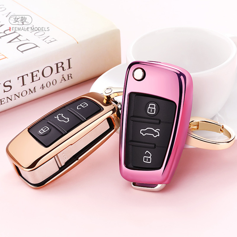 TPU Car Key Case Auto Key Protection Cover For Audi C6 A7 A8 R8 A1 A3 A4 A5 Q7 Car Holder Shell Colorful Car-Styling Accessories