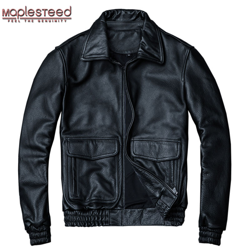MAPLESTEED Air Force Flight Jacket 100% Calf Skin Thick Leather Jacket Men Pilot Coat Aviator Bomber Jacket Man Winter Coat M060