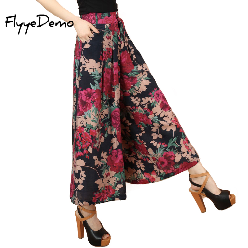 2019 Plus size Summer Women Print Flower Pattern Wide Leg Loose Linen Dress Pants Female Casual Skirt Trousers Capris Culottes