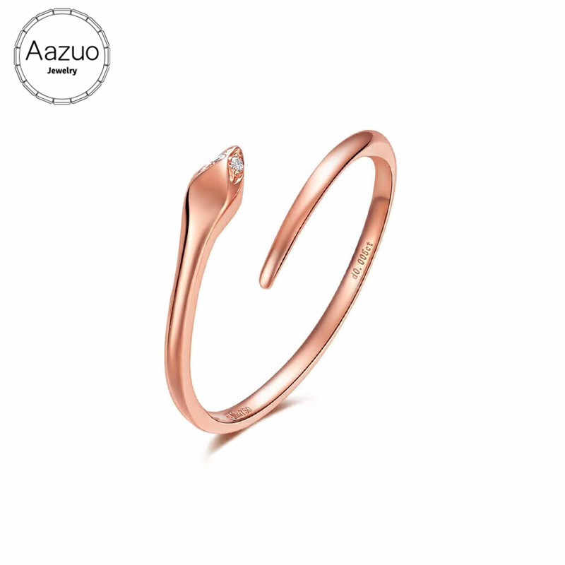 Aazuo100% 18K Rose Gold Real Diamond IJ Si Mirco Paved Mini Snake Ring for Woman Charm Jewelry Fashion Love Gift tiny thin Au750