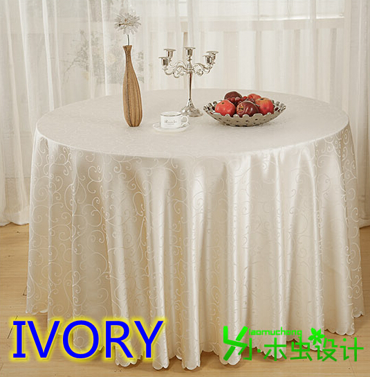 Ivory Colour Jacquard Round Wedding Table Linens Damask Pattern Table Cover  For Wedding Round Tables Decoration