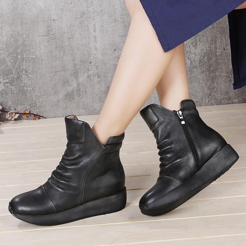 footwear footwear wholesale dealer Vintage Pleated Shoes Woman Original Leather Female Short Boots Handmade  Zipper Old-fashioned Lady Wrinkle Ankle Booties