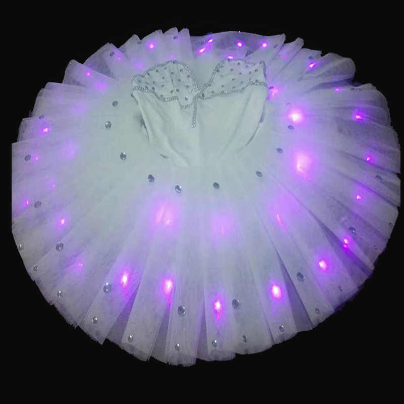 LED cahaya rok tari balet dewasa anak kostum rok kroni lampu bercahaya persegi Putri Gaun