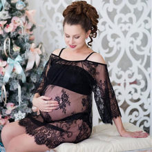 2019 Maternity photography props maxi Pregnancy Clothes Lace Maternity Dress Fancy shooting photo summer pregnant dress S-4XL(China)