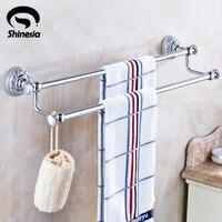 Shinesia Chrome Polished Solid Brass Bathroom Double Towel Bars Towel Rack Bathroom Accessories Wall Mounted