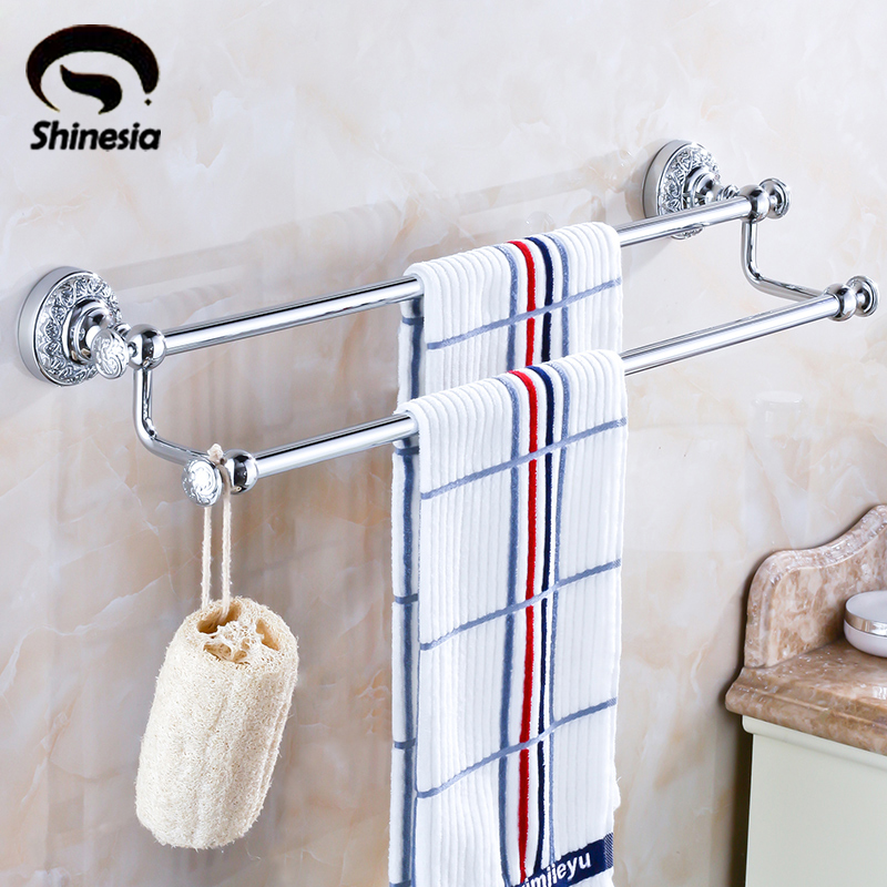 цена на Shinesia Chrome Polished Solid Brass Bathroom Double Towel Bars Towel Rack Bathroom Accessories Wall Mounted