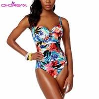 OHDREAM 2018 Women Swimwear Sexy Floral Print Swimsuit One Piece Swim Wear Push Up Plus Up Bathing Suit New Summer Beachwear C