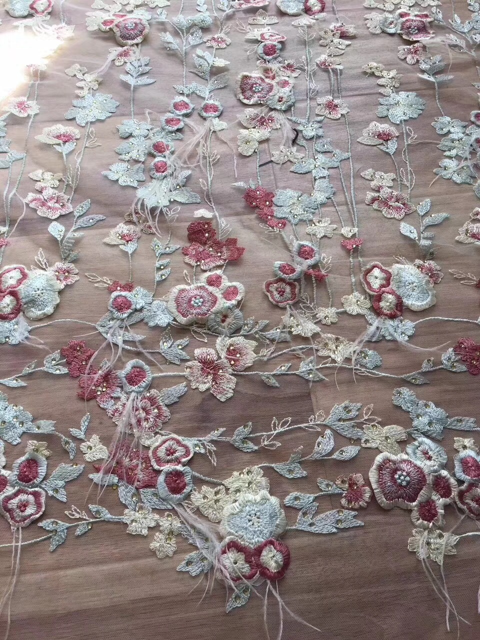 African HANDWORK FEATHER Mesh Rhinestones Lace Fabric 2018 High Quality Tulle Embroidered Lace Fabric