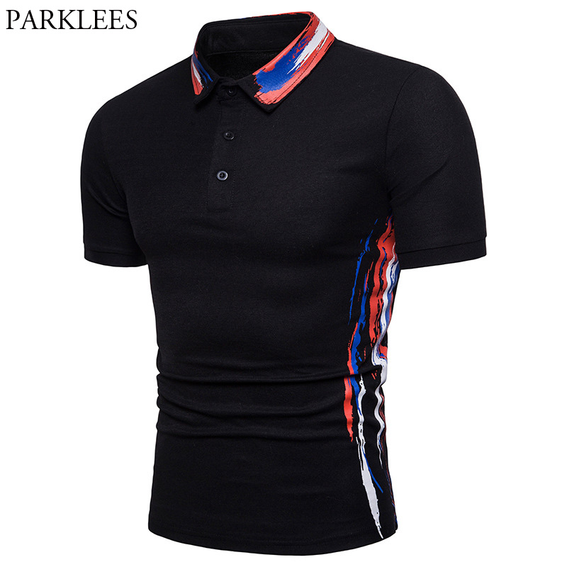 Fashion Splash Ink Print   Polo   Shirt Men 2018 Summer Brand New Short Sleeve   Polo   Homme Casual Breathable   Polo   Shirts Camisas   Polo