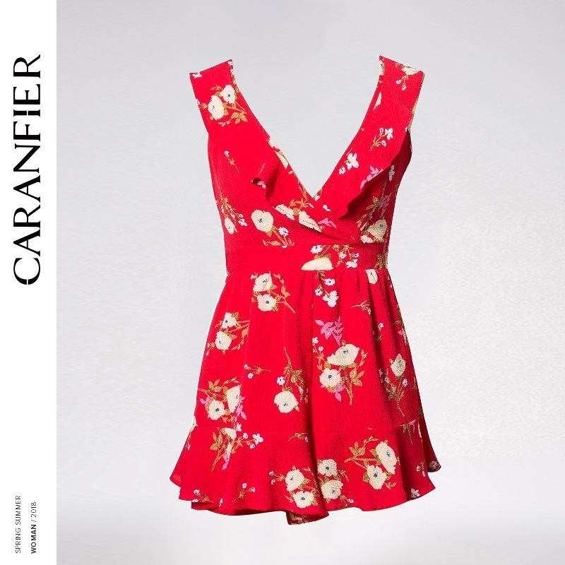 CARANFIER 2018 New Women Summer Sleeveless Beach Jumpsuits Ladies Holiday Short Mini Female Party Sexy Jumpsuits Vestido Floral