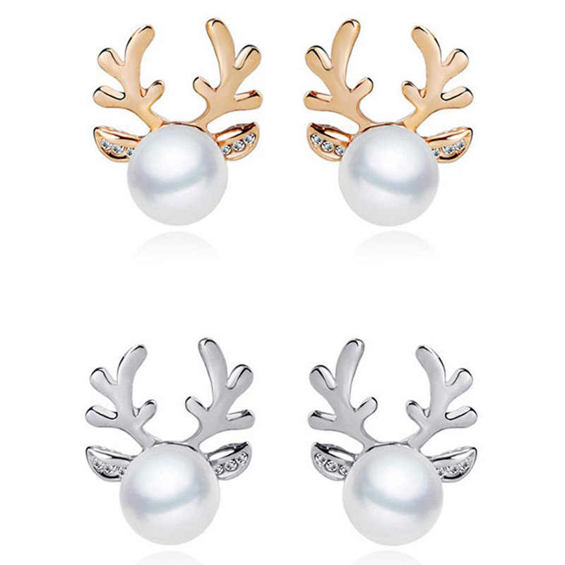 Fashion Hot Gold Silver color Xmas Christmas Pearl Deer Earrings For Women Ear Stud and Necklace For Girls Jewelry