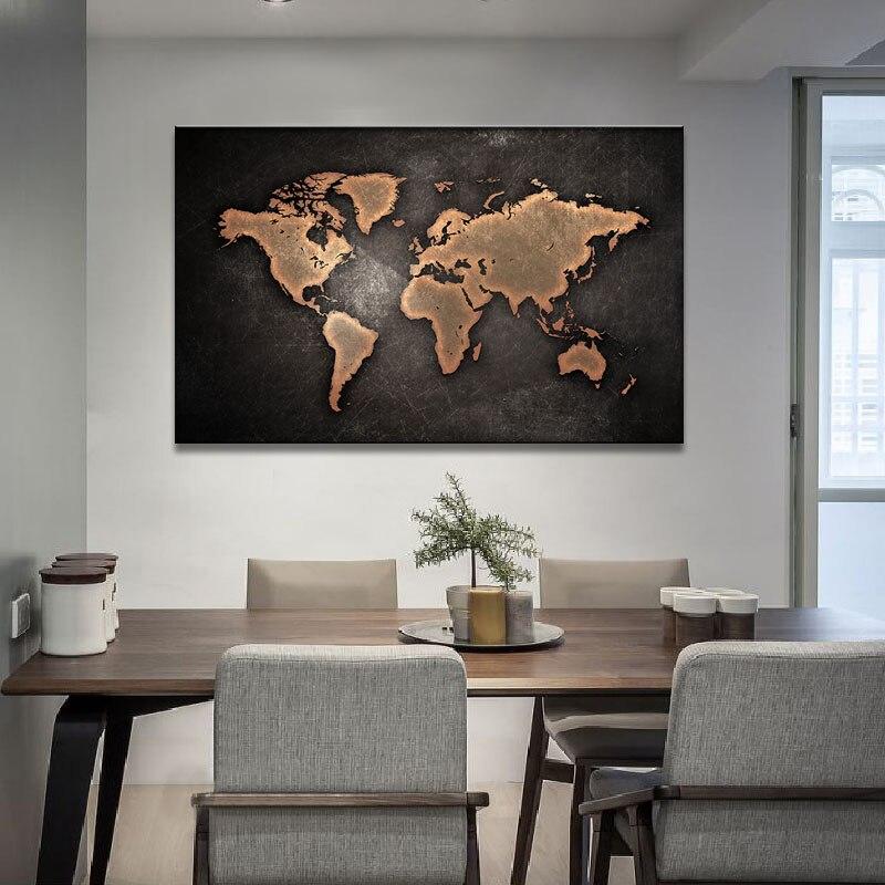 Omlijst Grote Abstracte Zwarte Wereldkaart Schilderij Canvas Retro ...