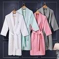 Вафельный хлопка женщин халат мужчины ночная рубашка пижамы для девочки одеяло полотенце отель любителей длинный мягкий плюс размер лето осень