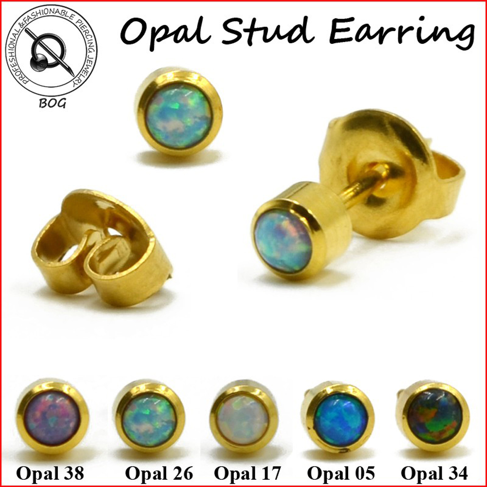 Women Fashion Sterile 24k Gold Steel Fire Opal Stud Earrings Studex For  Piercing Gun Ear Stud