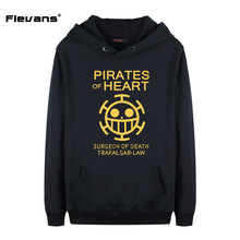 Flevans 2017 New Fashion Brand Men Hoodies Mens Long Sleeve Casual Cotton Hoody Anime One Piece Trafalgar Law