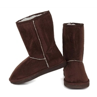 Hot Sale Women Flats Heel Leather Snow Boots Natural Fur Plush Winter Boots Warm Wool Boots