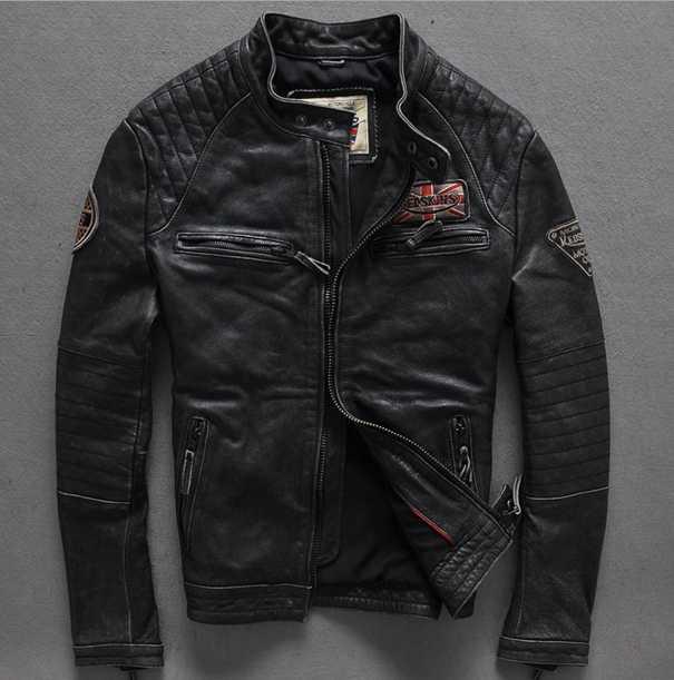 2018 new fashion men vintage leather jacket cowhide. Black Bedroom Furniture Sets. Home Design Ideas