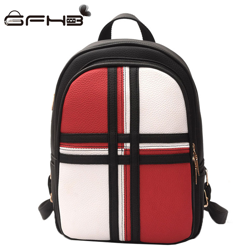 Panelled Patchwork School Backpacks For Teenage Girls Kanken Women Backpack 2017 Preppy Style Leather Travel Bag