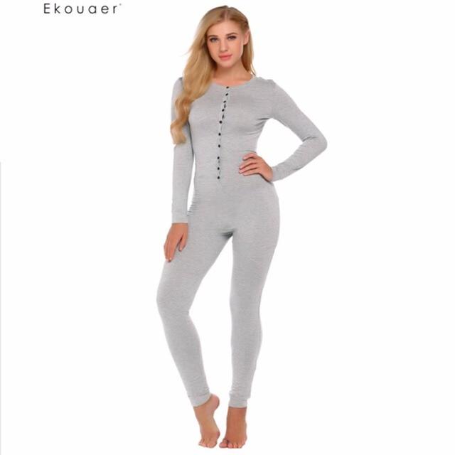 183c91a24882 Ekouaer Adult Onesie Pajama Set Women Long Sleeve Solid Slim Sleepwear Soft  Nightwear Autumn Casual Pajamas Set Union Suit