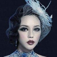 Bridal hair accessories white hat feather bow head flower big mesh veil little hat hairpin headdress