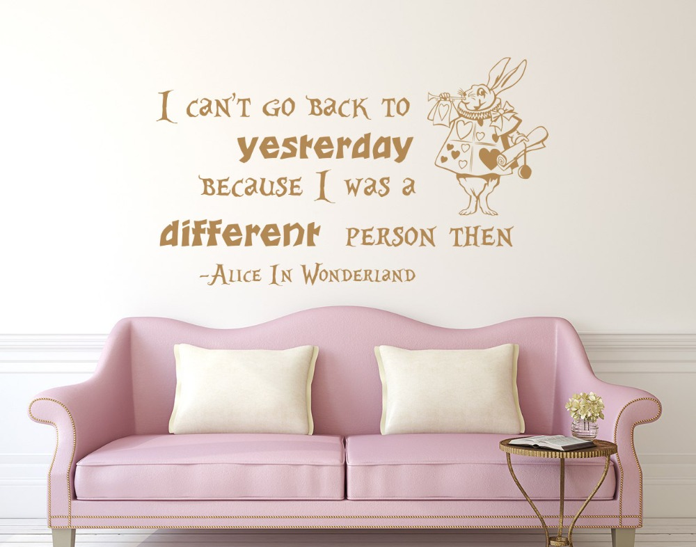 Alice In Wonderland Quote Wall Decal Cat Popular Diy Kids Nursery Baby Bedroom Decor Mural Vinilos