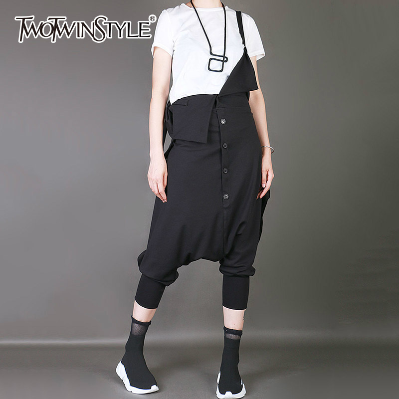 TWOTWINSTYLE Tunic   Jumpsuits   Female Calf Length Cross Pants Large Size Spring Summer 2018 Suspenders Trousers Harajuku Clothing