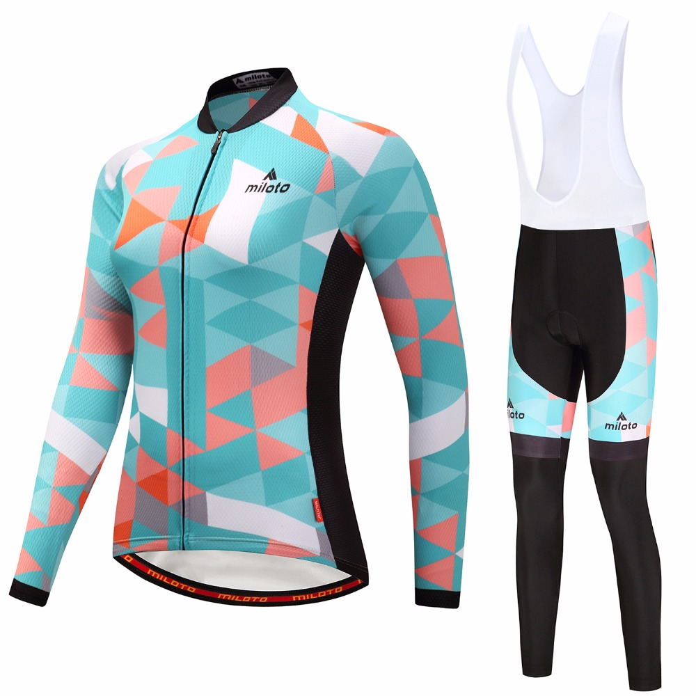 2018 Womens Cycling Jerseys Sets Ropa Ciclismo Cycle Clothes Long Sleeve Jerseys Sets Bicycle Sportswear Cycling Clothing-in Cycling Sets from Sports & Entertainment    3
